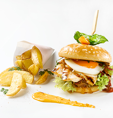 Chicken-Burger mit Country Cuts